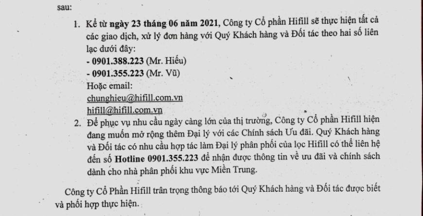 HIFILL THÔNG BÁO THAY ĐỔI THÔNG TIN KINH DOANH KHU VỰC MIỀN TRUNG